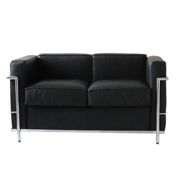 Le Corbusier LC2 2 p black total design genuine leather Italian leather  sofa sofa two seat sofa leather (leather)