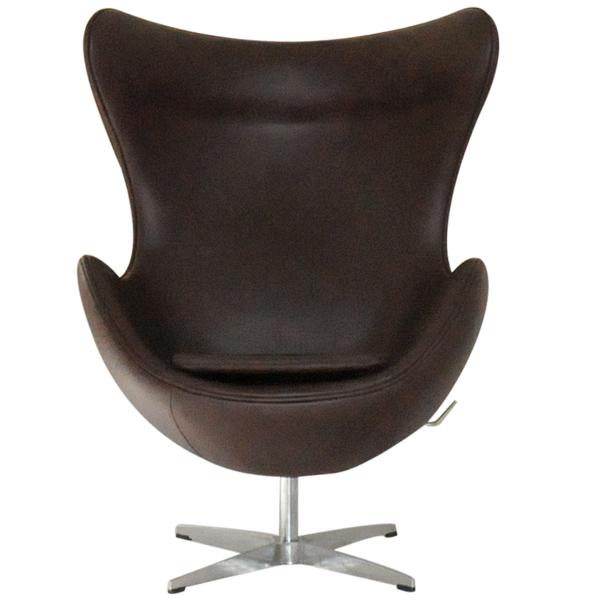 エッグチェア/レザー仕様 ダークブラウン/アルネ・ヤコブセン/新品 eggchair デザイナーズ パーソナルチェア パーソナルソファ 1人掛け 1人用 ソファ 椅子 いす イス eggchair leather Arne Jacobsen