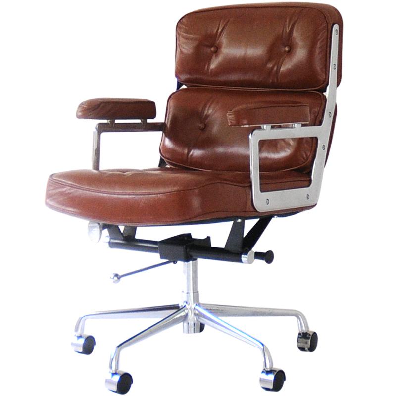イームズ タイムライフエグゼクティブチェア ブラウン 総本革×アルミ チャールズ&レイ・イームズ Charles Ray Eames パーソナルチェア リラックスチェア 椅子 オフィスチェア パソコンチェア officechair