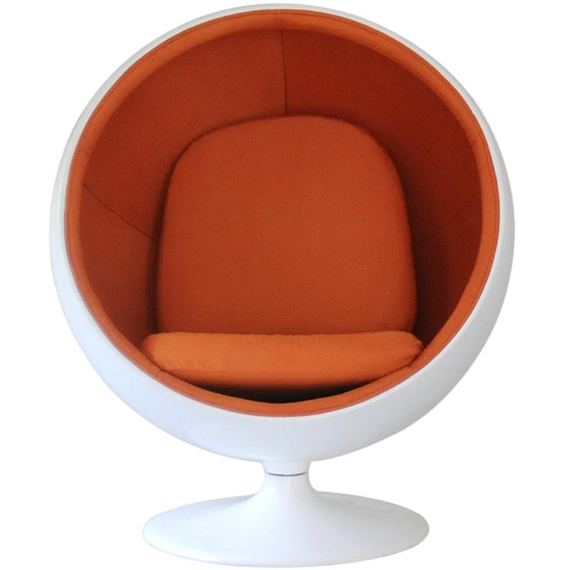 Ball Chair / Eero AARNIO Design / White × Orange Eero Aarnio Ball Chair  Mid Century Personal Sofa One Seat Living Room Furniture Reception  Furniture ...
