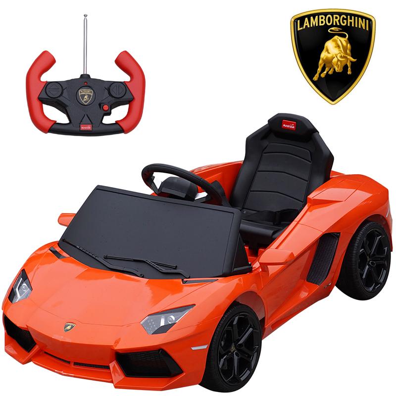 ランボルギーニ正規ライセンス LP700-4 アヴェンタドール オレンジ イエロー 電動乗用玩具 リモコン操作可能 Aventador Lamborghini