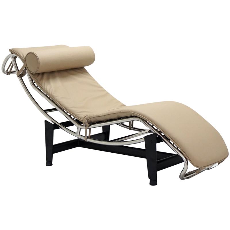 ル・コルビジェ LC4 シェーズロング 本革仕様 モスベージュ Le Corbusier Italian leather リプロダクト デザイナーズ家具 ベッド ソファベッド ルコルビジェ パーソナルソファ 一人用 一人掛け