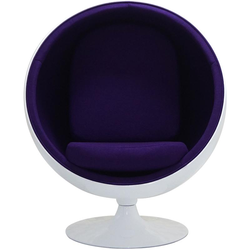 リプロダクト ジェネリック デザイナーズ家具 ボールチェア 結婚祝い 卓越 色ホワイト×パープル エーロアールニオによるデザイン 一人掛け BallChair 〇型ボールチェア ミッドセンチュリー パーソナルソファ