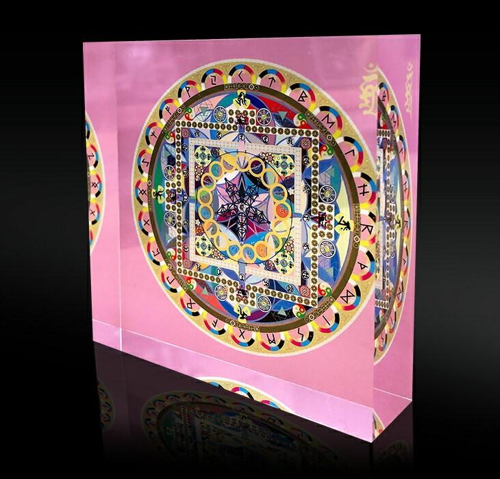 クリスタルクスリエ曼陀羅ペンタグラム 中サイズ7.5cm×7.5cm×2cmマンダラ 奇跡のコイルBLACK EYEブラックアイの医学博士丸山修寛監修