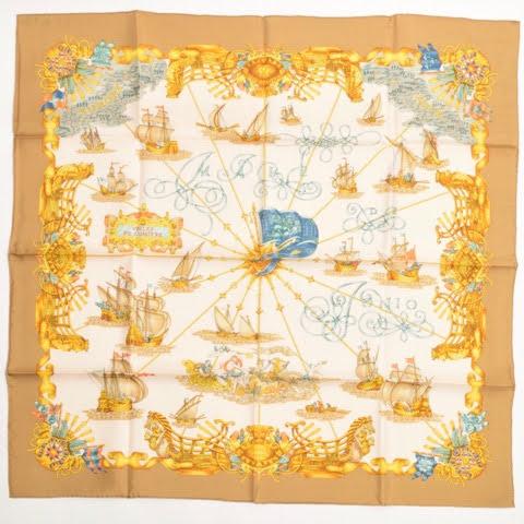 【新古品】 エルメス HERMES スカーフ カレ 90 シルク VOILES DE LUMIERE 光の帆船 大判 ショール レディース ベージュ ホワイト 白 p-eg2001158