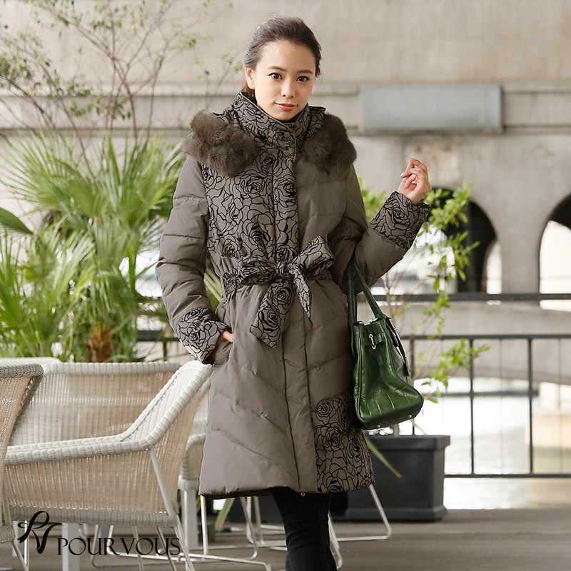 Flocky is deep-discount in the four season for 50 generations for 40 generations for 30 generations for down coat outer down fur rabbit rabbit fur coat fur coat Rose rose down jacket long coat Lady's four circle furs clothes adult refined four circle inv