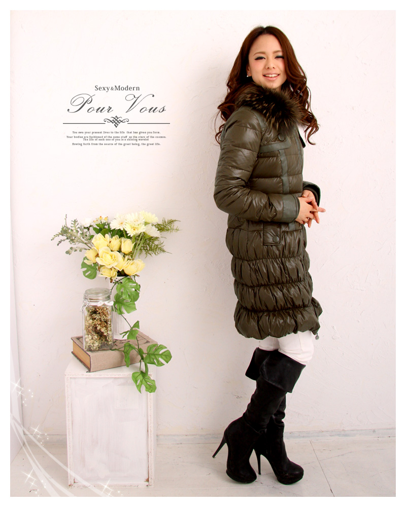 Raccoon ladies coat down jacket military style medium outer plain simple black Black hooded warm or large fall/winter new ladies women's big size clothing magazine s 1167 fall new larger size down jacket