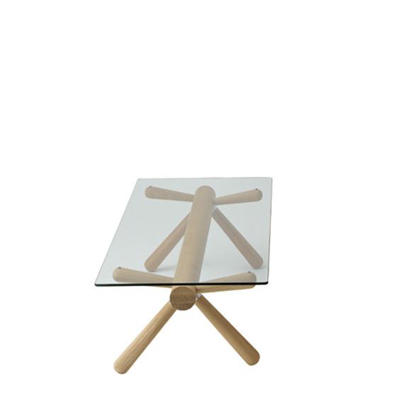 【飛騨産業】HIDA リビングテーブル (W135 D62 H40) Giulie 強化ガラス ナラ NY色 EM301GL