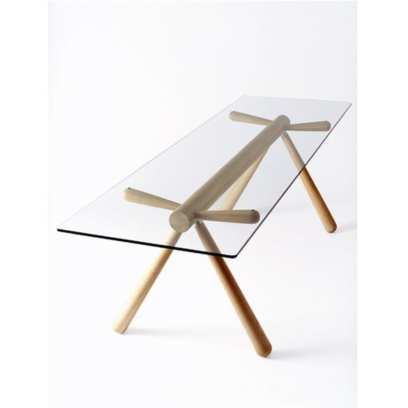 【飛騨産業】HIDA テーブル (W231 D72) Giulie 強化ガラス ナラ NY色・BK色 EM307G
