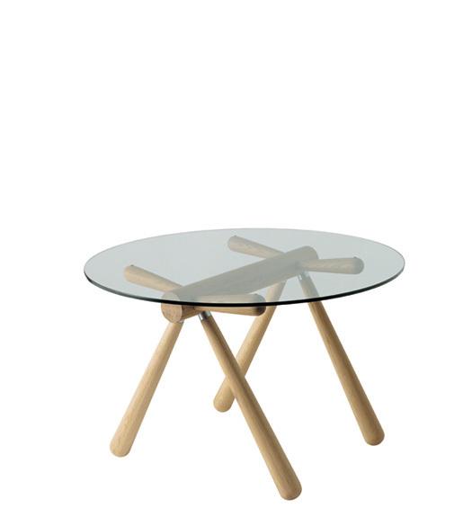 【飛騨産業】HIDA 丸ガラステーブル (W110 D110) Giulie 強化ガラス ナラ NY色・BK色 EM309G