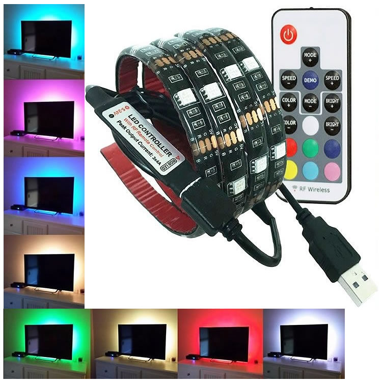 全20色で好きな色やパターンをリモコンで操作可能 リモコン付き LED テープライト 2M 防水 60灯 RGBカラー 全20色 全22発光パターン イルミネーション SALE開催中 モニター USB接続 カット可能 メール便 限定タイムセール 調光 テレビ PR-TAPELIGHT-RI バックライト 送料無料
