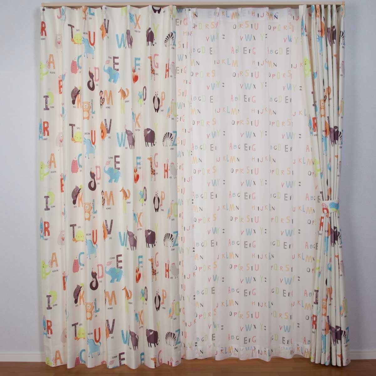 レースカーテン おしゃれ ドウブツノナマエサイズオーダー作成キッズカーテン幅の広さ101cm~200cmまで選べます丈の長さは151cm~180cmまで選べます