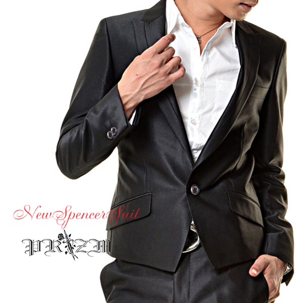 Black Suit シングルセットアップスーツ/光沢スーツ・光沢生地スーツ・パーティースーツ・黒光沢スーツ・ホストスーツ