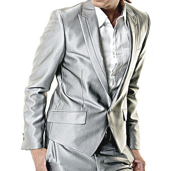 シルバースーツ・Shilver Suit・セットアップスーツ/光沢スーツ・光沢生地スーツ・パーティースーツ・黒光沢スーツ・ホストスーツ・結婚式スーツ・2次会スーツ・お呼ばれスーツ・カッコイイスーツ・最新メンズスーツ