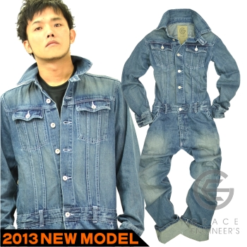 "(New) denim overalls ""10 ozDENIM 2013LIMITED"" /GE-101 / cotton 100% / * Workwear men's tie fashion *"