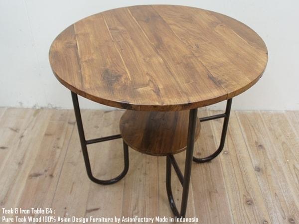 【送料無料】チークアイアンテーブル 64B アンティーク・古材・アジアン家具・木製テーブル・鉄製・天然木・アジアン家具・完成品・バリ家具・インドネシア製 ウォルナット・マホガニーに並ぶ高級木材 AIT64B