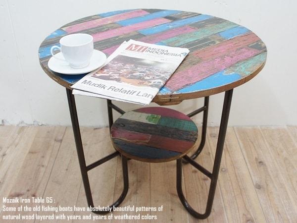 【送料無料】チークアイアンテーブル 65MZd アンティーク・古材・アジアン家具・木製テーブル・鉄製・天然木・アジアン家具・完成品・バリ家具・インドネシア製 ウォルナット・マホガニーに並ぶ高級木材 AIT65MZd