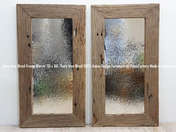 アイアンウッド無垢材フレームミラー110cm×60cm 鏡 アジアン家具 ウリン古材 木製フレーム 天然木 鉄道枕木リサイクルウッド バリ家具 送料無料 ・送料無料