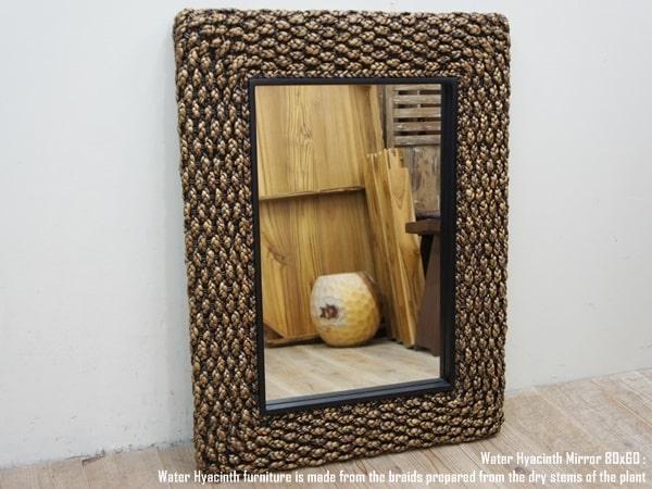 ウォーターヒヤシンスミラー80×60cm・鏡・壁掛け・ナチュラル・アジアン家具・ウォーターヒヤシンス材のフレーム・天然素材・モダンアジアン・バリ家具・送料無料・インドネシア製