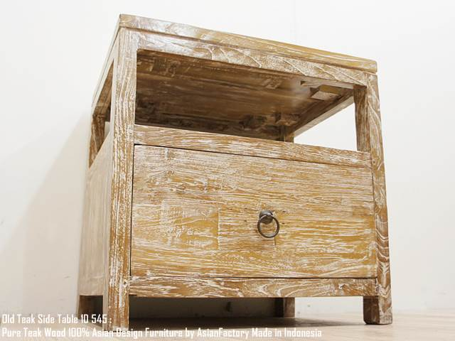 オールドチーク無垢材 サイドテーブル1D545WW ホワイトウォッシュ チェスト 収納 アジアン家具 キャビネット 花台 飾り棚 天然木 送料無料 完成品 組立不要 バリ家具 インドネシア製