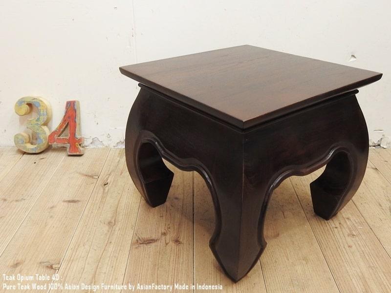 送料無料 ついに再販開始 チーク無垢材オピウムテーブル40cm×40cmDBちゃぶ台 ローテーブル 毎日激安特売で 営業中です アジアンテーブル スーパーセール 花台