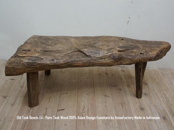 超極厚オールドチークベンチ114cm チークの古材を再利用したベンチ 総無垢材 スツール アジアン家具 長椅子 木製いす 天然木 バリ家具 送料無料 インドネシア製 ウォルナット・マホガニーに並ぶ高級木材・ハンドメイド・アンティーク