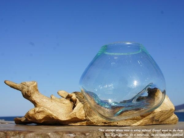 本物 流木ガラスオブジェ TNWL 土台の木が長いタイプ 花瓶 アクアリウム テラリウム フラワーポット 金魚鉢 メダカ水槽 バリ島 定番キャンバス アジアン雑貨 おしゃれインテリア リサイクルウッド かわいい 業販 買い周り 買い回り スーパーセール ポイント消化 卸売可 リサイクルガラス