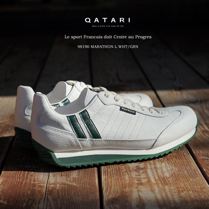 【靴紐通し済】パトリックスニーカー マラソンレザー ホワイト・グリーンPATRICK MARATHON-L W/G 98190パトリック メンズ レディース 限定モデル
