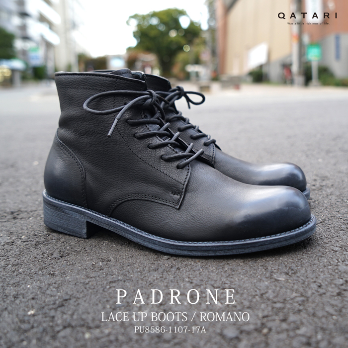 パドローネ レースアップブーツ ロマノ ブラック PADRONE LACE UP BOOTS ROMANO BLACK PU8586-1107-17a 革靴 日本製 made in japan