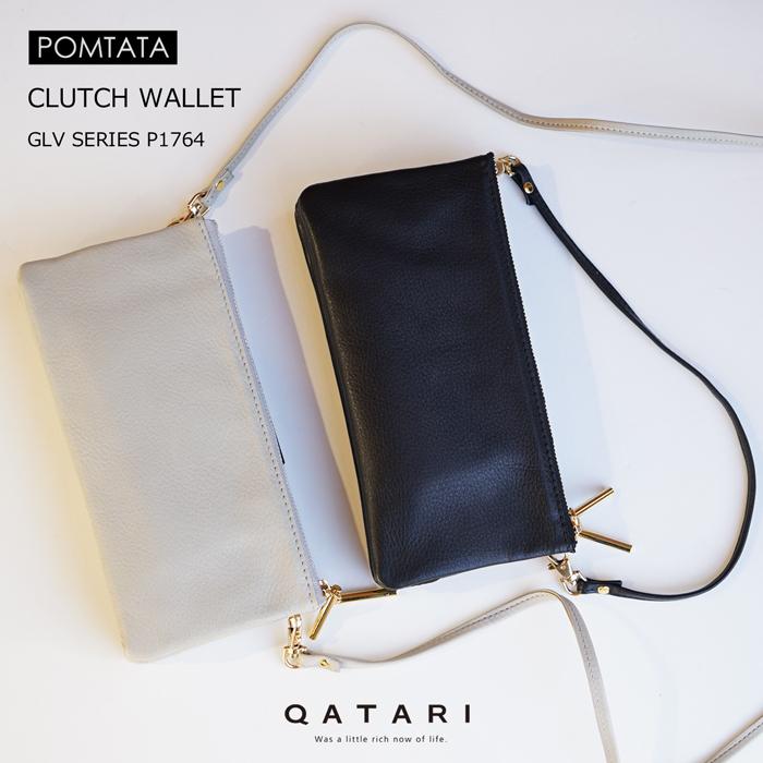 ポンタタ クラッチウォレット ブラック グレーPOMTATA GLV SERIES CLUTCH WALLET BLK GRY No.P1764