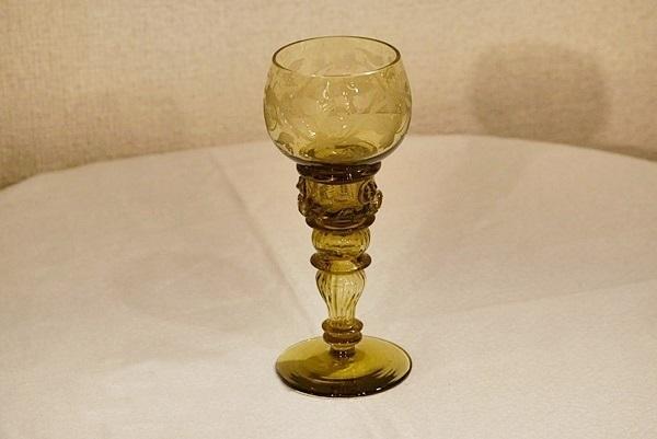 送料無料★英国イギリスアンティーク ゴブレット ブドウ柄エッチング ワイングラス S116