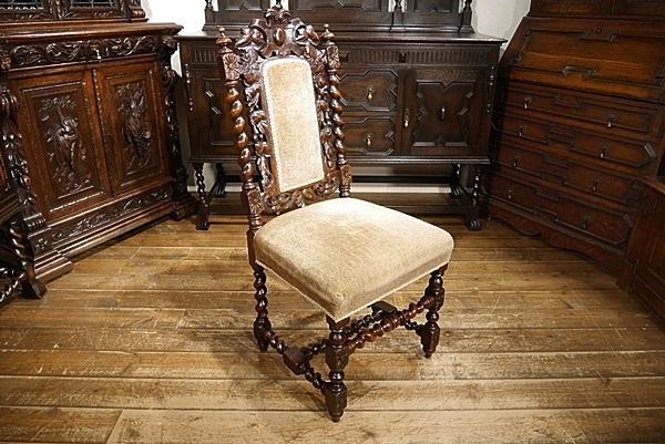 英国イギリスアンティーク家具1900年代 ビクトリアンチェア 彫刻 6939