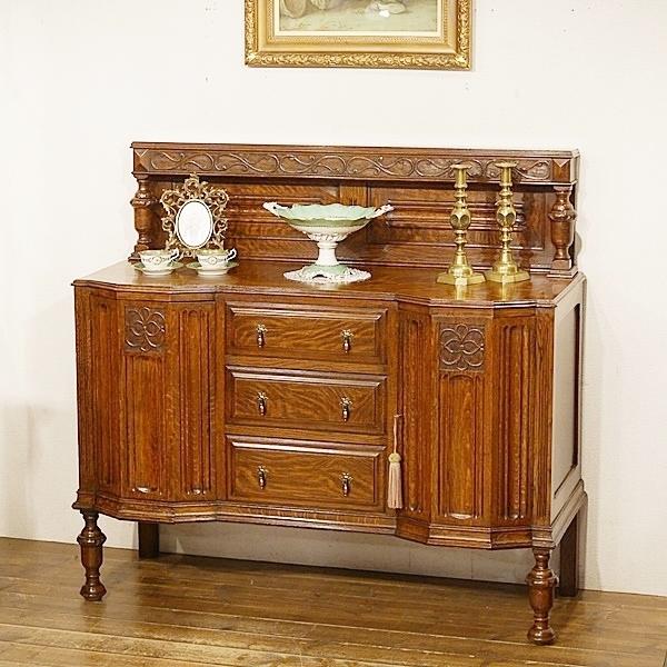 英国イギリスアンティーク家具 サイドボード バフェ 彫刻 樫 タイガーオーク 虎斑杢 無垢 8933W
