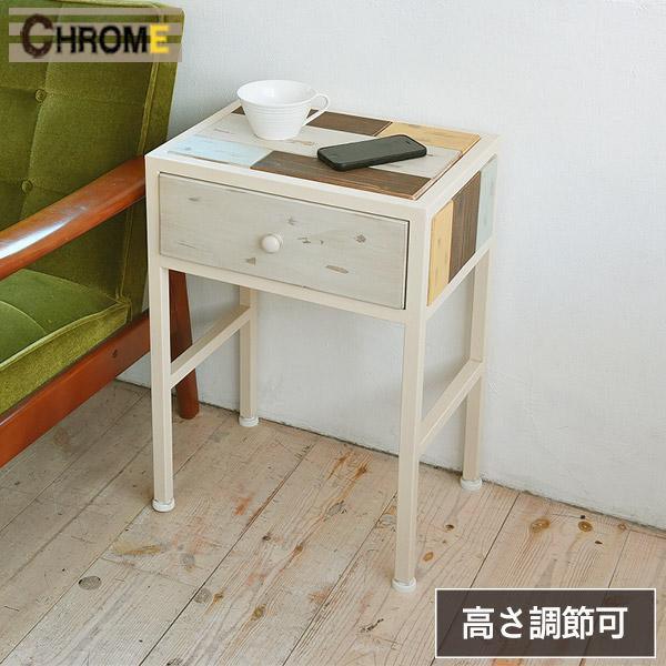 サイドテーブル 白 木製 ホワイト【CHROME】クローム マルチカラー テーブル ベッドサイドテーブル リビングテーブル コーヒーテーブル シンプル アンティーク おしゃれ 天然木 モザイク インテリア ウッド 木 北欧