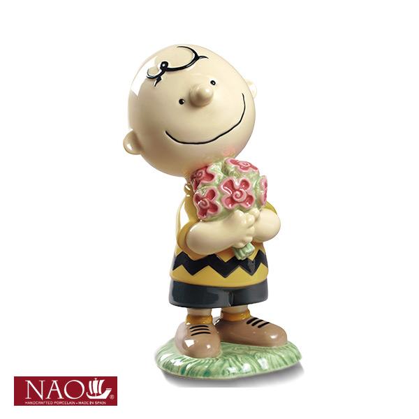 陶磁器製 手作り人形 NAO【CHARLIE BROWN】(高品質 人形 フィギュリン かわいい インテリア お祝い プレゼント ギフト オブジェ 置物 磁器製品 チャーリー・ブラウン キャラクター)