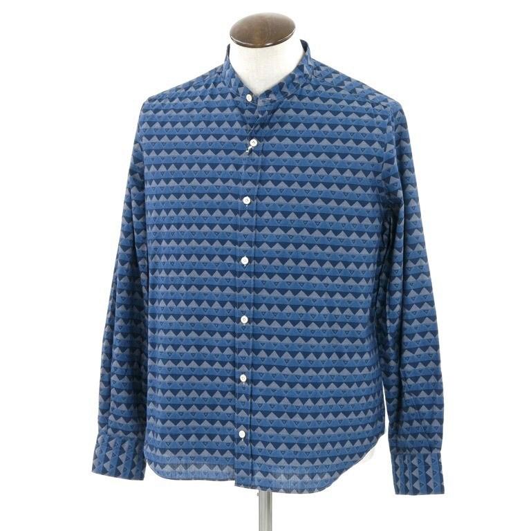 【新品】フィナモレ Finamore ジオメトリック柄 バンドカラーシャツ ブルー×ネイビー系【サイズL】【BLU】【S/S/A/W】【状態ランクN】【メンズ】【10602-956331】【1910APD】