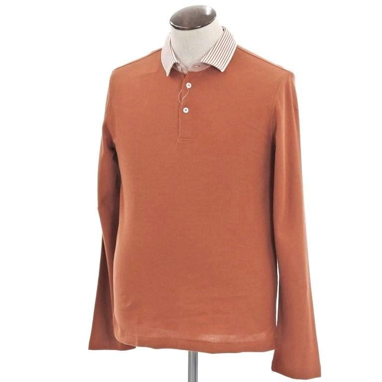 【新品】ベルベスト Belvest 鹿の子 長袖ポロシャツ オレンジブラウン×ホワイト【サイズ50】【BRW】【S/S/A/W】【状態ランクN】【メンズ】【10703-956728】【1万円以上送料無料】【181011PD】