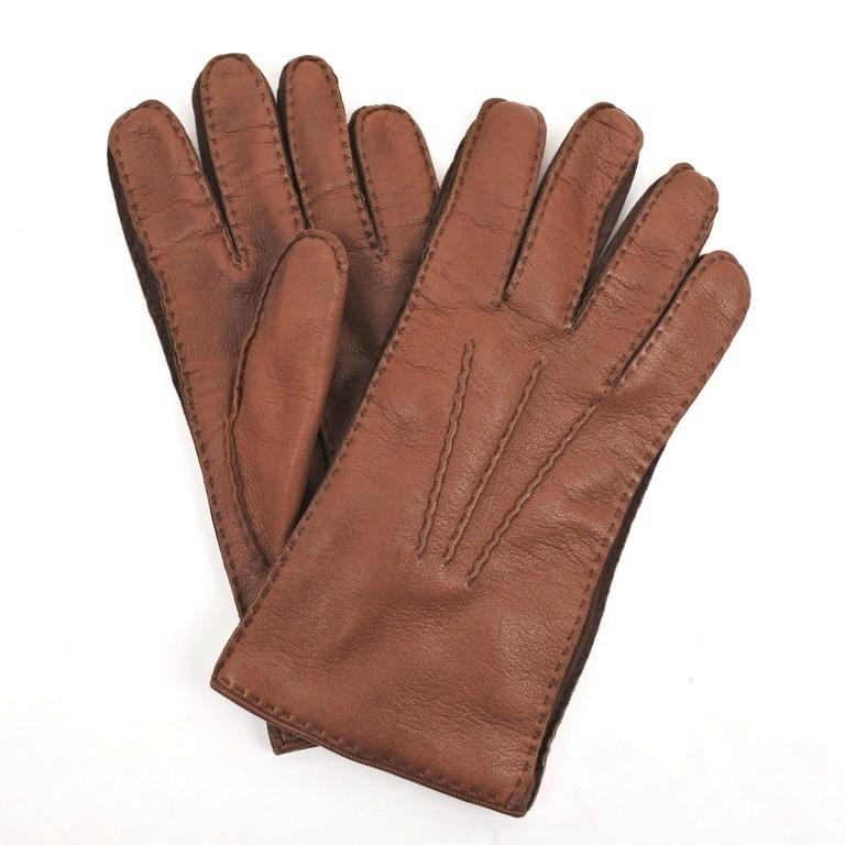 【中古】ソーリ SOLI レザー カシミアライニング グローブ 手袋 ブラウン【サイズ8 1/2】【BRW】【A/W】【状態ランクB】【メンズ】【19908-956603】【1万円以上送料無料】