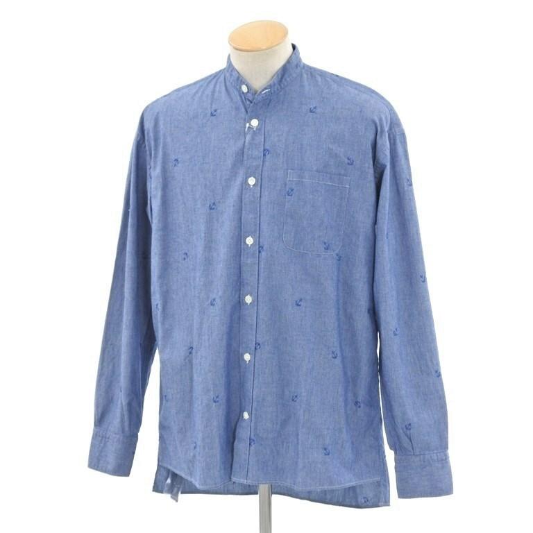 【新品】イレブンティ eleventy バンドカラー シャンブレーシャツ ブルー【サイズ38】【BLU】【S/S/A/W】【状態ランクN】【メンズ】【10602-956442】【2005CPD】