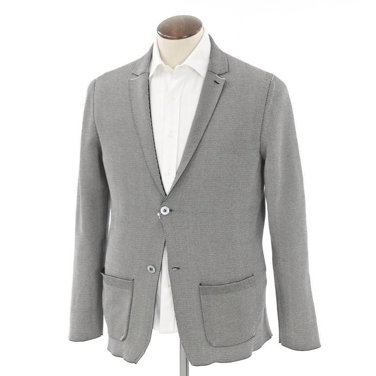 【中古】ドルモア Drumohr コットン 2Bニットジャケット ブラック×ホワイト【サイズ50】【GRY】【S/S】【状態ランクB】【メンズ】【10199-956203】【2006APD】