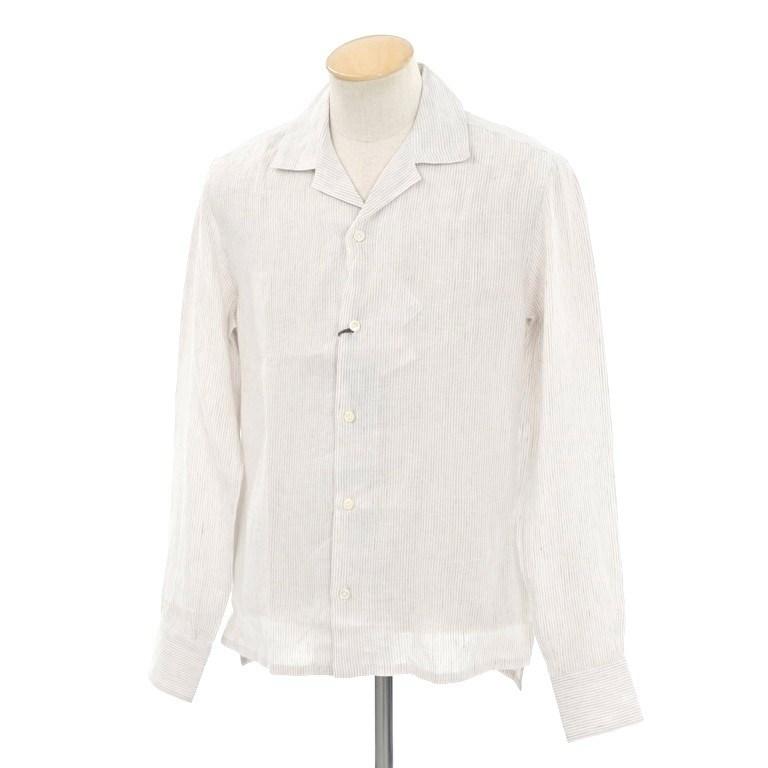 【SALE】【返品不可】【新品】イレブンティ eleventy リネン ストライプ オープンカラーシャツ ベージュ×ホワイト【サイズ38】【BEI】【S/S】【状態ランクN】【メンズ】【10602-956396】【1万円以上送料無料】【1912BPD】