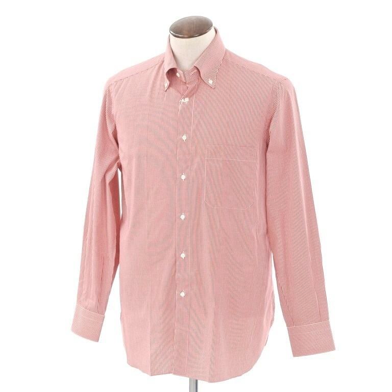【SALE】【返品不可】【中古】【未使用】ブリーニ BURINI BURINI チェック BDシャツ レッド×ホワイト【サイズ41】【RED】【S/S/A/W】【状態ランクS】【メンズ】【10602-956186】