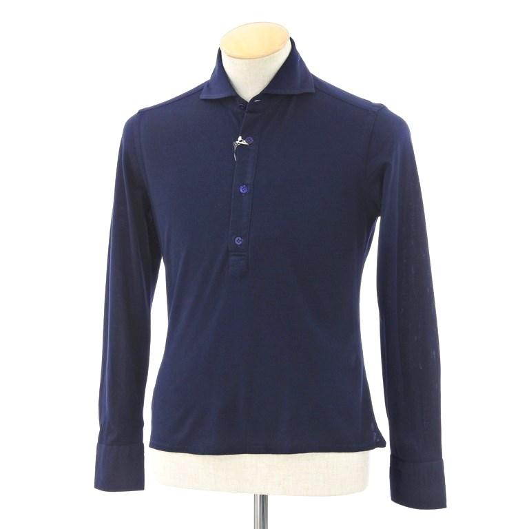 【新品】ボリエッロ BORRIELLO コットン ホリゾンタルカラー 長袖ポロシャツ ネイビー【サイズXS】【NVY】【S/S/A/W】【状態ランクN】【メンズ】【10703-956315】