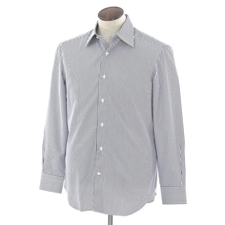 【新品】ルカ ベルディッキオ LUCA VERDICCHIO ストライプ セミワイドカラー ドレスシャツ ホワイト×ネイビー【サイズ40】【NVY】【S/S/A/W】【状態ランクN】【メンズ】【10601-956302】
