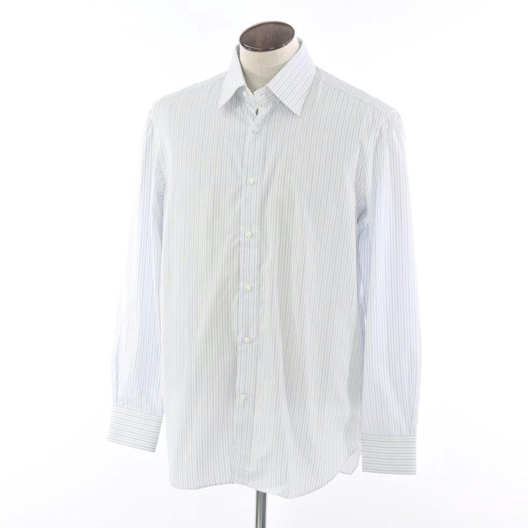 【新品アウトレット】ルカ ベルディッキオ LUCA VERDICCHIO ストライプ セミワイドカラー ドレスシャツ ホワイト×ライトブルー【サイズ43】【WHT】【S/S/A/W】【状態ランクN-】【メンズ】【10601-956302】