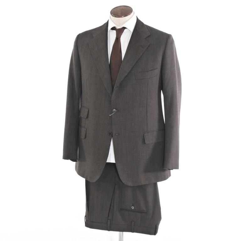 【中古】キートン Kiton ウール 3つボタンスーツ ダークブラウン×ブラウン【サイズ52/54】【BRW】【A/W】【状態ランクB】【メンズ】【10402-956126】