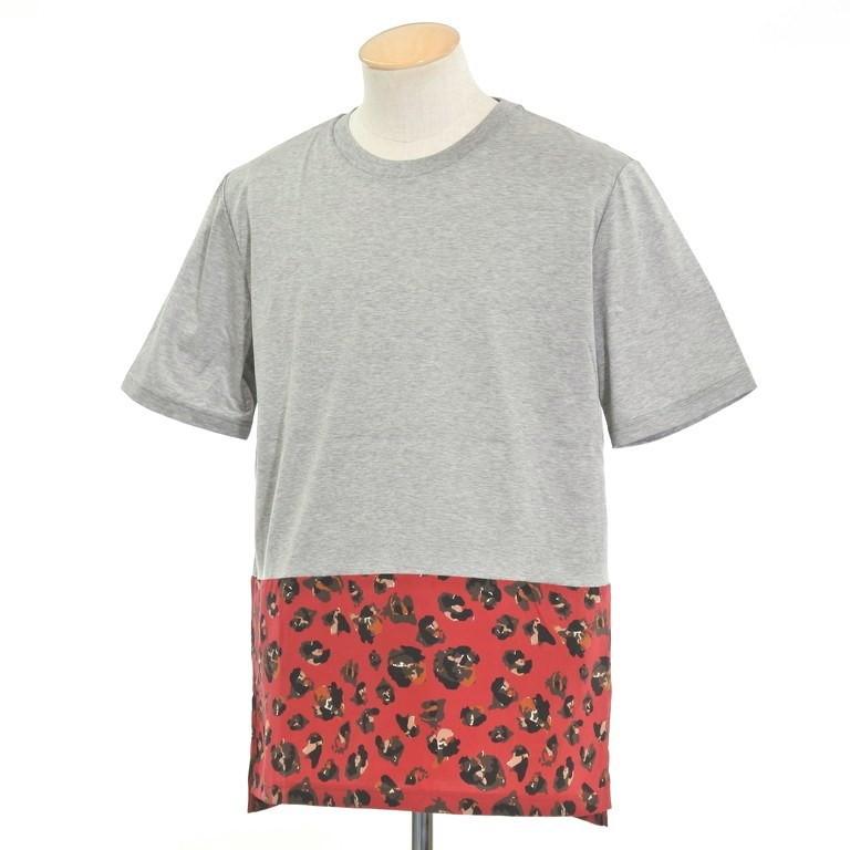 【新品】ランバン LANVIN シルク切替 半袖Tシャツ グレー×マルーン系【サイズS】【GRY】【S/S】【状態ランクN】【メンズ】【10702-956107】