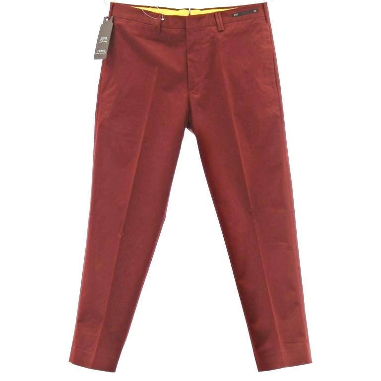 【新品】ピーティーゼロウーノ PT01 REMIX STREET ELEGANCE ストレッチコットン スラックスパンツ マルーン【サイズ48】【RED】【S/S】【状態ランクN】【メンズ】【10902-956097】