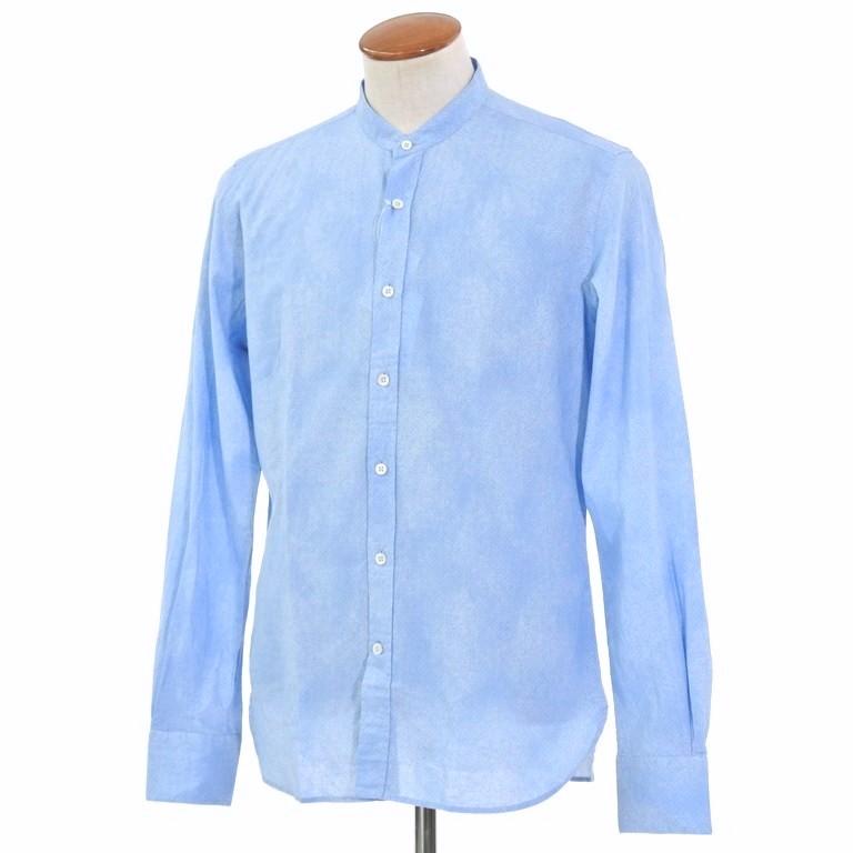 【新品】グランシャツ Glanshirt コットン×リネン バンドカラー シャツ ライトブルー【サイズ40】【BLU】【S/S】【状態ランクN】【メンズ】【10602-956096】