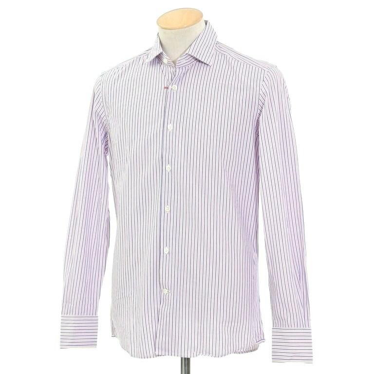 【新品】グランシャツ Glanshirt コットン ストライプ セミワイドカラーシャツ ホワイト×ピンク×ダークブルー【サイズ37】【WHT】【S/S/A/W】【状態ランクN】【メンズ】【10602-956096】